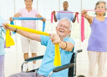 Multi ethnic seniors exercise class