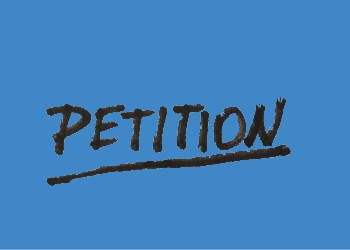 Petition written over blue background