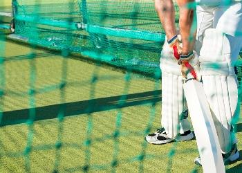 Batsman in cricket nets